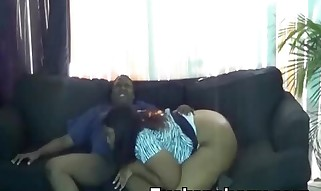 Warm Plumper Black Deepthroating On Couch