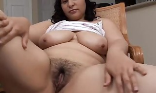 Spectacular phat hooters dark-haired Plumper