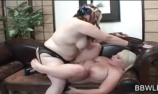 Sapphic Gig With Plumper Tearing up Strap-on
