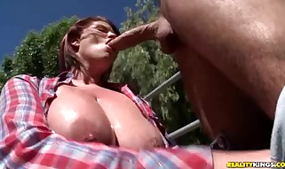 Lisa Sparxxx slips a long boner deep into her mouth as ...