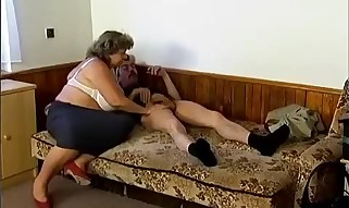 Buxom granny is deeply screwed